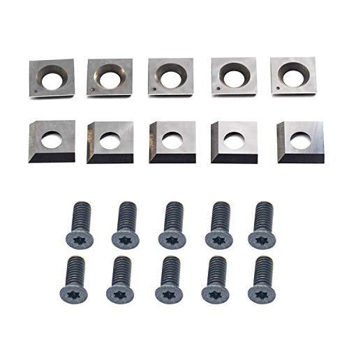 14.3mm Carbide Inserts Cutters Knives Square Replacement 2 Cutting Edges for Cutech Tool Planer Jointer40700H-CT 4700HC-CT 40100H-CT 40600H-80100-CT 40200H-CT 40600HC-80100-CT 40200HC-CT Head 10pcs