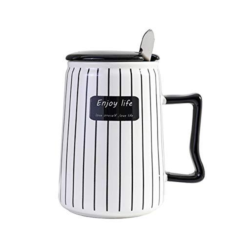 Tasse à thé en Porcelaine pour café Tasse élégante_RG, Couple Tasse en céramique à Rayures Noires et Blanches avec Couvercle et cuillère Nouveautés Tasses à thé en Forme de café au Lait