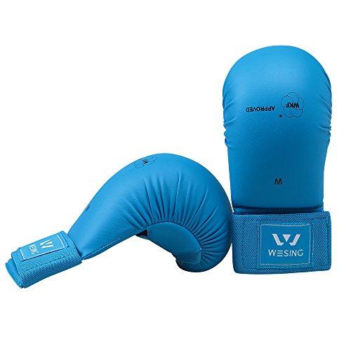 Wesing WKF Sparring Karate Guanti con Protezione per Il Pollice Blu Rosso