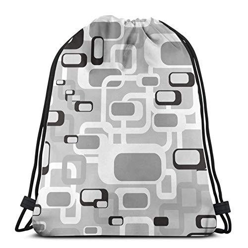 QUEMIN Kordelzug Rucksack, leicht, Sporthalle, große Tasche, wasserdichter Sackpack, für Yoga-Shopping, Männer Frauen schwarz und weiß Retro Rechteck Fliesen 70er Jahre Kreis