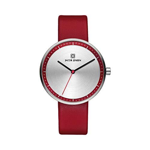 Jacob Jensen Damen Analog Quarz Uhr mit Leder Armband 32283