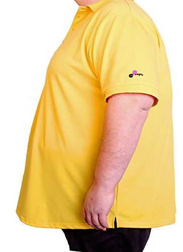 People Clothes Herren Kurzarm Polo Shirt in Übergröße/Oversize 6XL - 8XL gelb extra lang