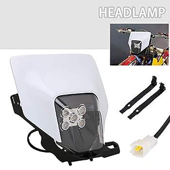 Dirt Bike Headlight Kit LED Universal Motorcycle Headlight Headlamp For Yamaha Kawasaki Suzuki Pit Bike ATV Enduro Supermoto - White