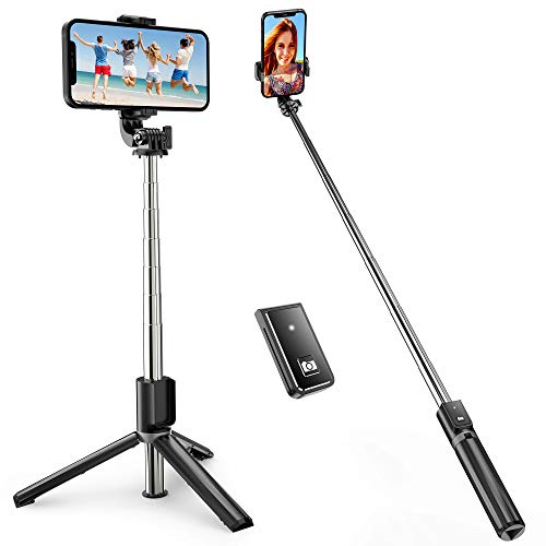 ATUMTEK Bastone Selfie, TikTok Selfie Stick Bastone Selfie Treppiede Estensibile Fino a 1m con Telecomando Wireless per Smartphone iPhone 12/11/11 Pro/X/XS/8/7 Plus/7, Samsung Galaxy S10/S9, Huawei