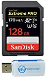 SanDisk 128GB SDXC SD Extreme Pro Memory Card Works with Canon EOS 77D, 80D, 70D, 6D, 60D Digital DSLR Camera 4K A2 (SDSDXXG-128G-GN4IN) Bundle with (1) Everything But Stromboli Combo Card Reader