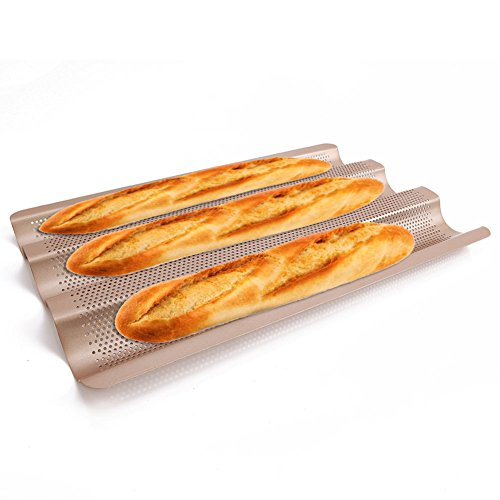 Baguette Pan 3 Gutter French Bread Tray for Baking Tins 15 inch Perforated Wave Small Wide Steel by LUFEIYA