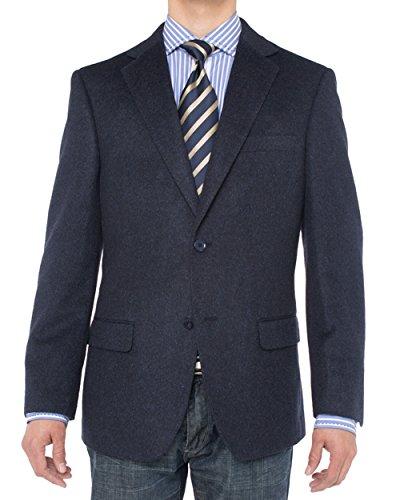 Luciano Natazzi Men's 2 Button Luxe Camel Hair Suit Jacket Sport Coat Blazer (42 Short US / 52S EU, Navy)
