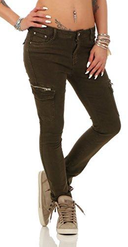 Fashion4Young 5778 Damen Jeans Röhrenjeans Hose Stretch-Denim Boyfriend Röhre Damenjeans (M=38, Oliv)