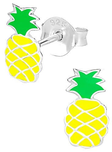 Hypoallergenic Sterling Silver Tropical Beach Vacation Earrings for Kids - Pineapple Yellow