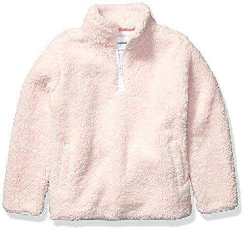 Amazon Essentials Girl's Polar Fleece Lined Sherpa Quarter-Zip Jacket, Light Pink, Medium