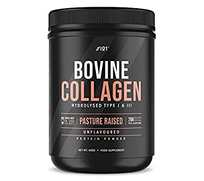 Grass Fed Collagen Protein Powder - Type I & III Pasture Raised New Zeland Bovine Hydrolysed Collagen Peptides - Halal, Kosher, Unflavoured, 400g from ALPHA01