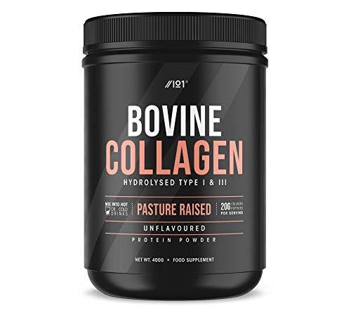 Grass Fed Collagen Protein Powder - Type I & III Pasture Raised New Zealand Bovine Hydrolysed Collagen Peptides - Halal, Kosher, Unflavoured, 400g