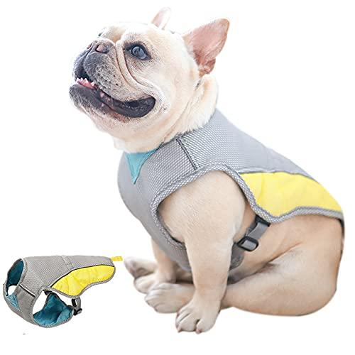 Hifrenchies Cooling Harness Vest for Dogs French Bulldog Summer Cooling Vest Outdoor Dog Jacket Safety Reflective Vest Cooler Jacket Sun-Proof Pet Coat Vest for Frenchie(M)