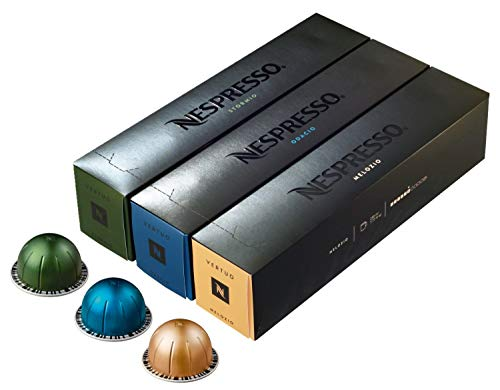 Nespresso Vertuoline Coffee Capsules Assortment - The Best Sellers: 1 Sleeve of Stormio, 1 Sleeve of Odacio and 1 Sleeve of Melozio for a Total of 30 Capsules