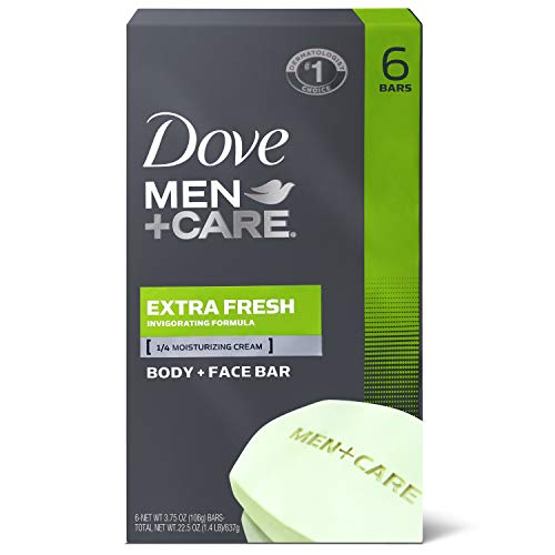Dove Men+Care Body and Face Bar to Clean and Hydrate Skin Extra Fresh Body and Facial Cleanser More Moisturizing Than Bar Soap, 3.75 oz, 6 Bars