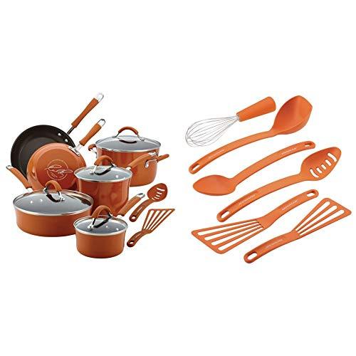 Rachael Ray Cucina Nonstick Cookware Pots and Pans Set, 12 Piece, Pumpkin Orange & Ray Gadgets Utensil Kitchen Cooking Tools Set, 6 Piece, Orange