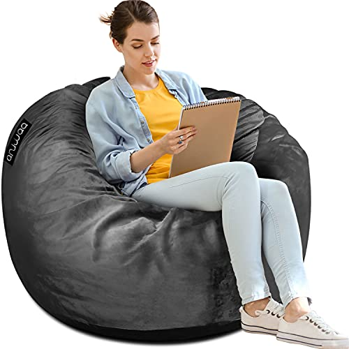 ANUWAA Bean Bag Chair, Giant 3' Memory Foam Bean Bag for Kids,Teens, Adults, Big Sofa with Fluffy Removable Microfiber Cover, Furnitures for Dorm Room and Living Room