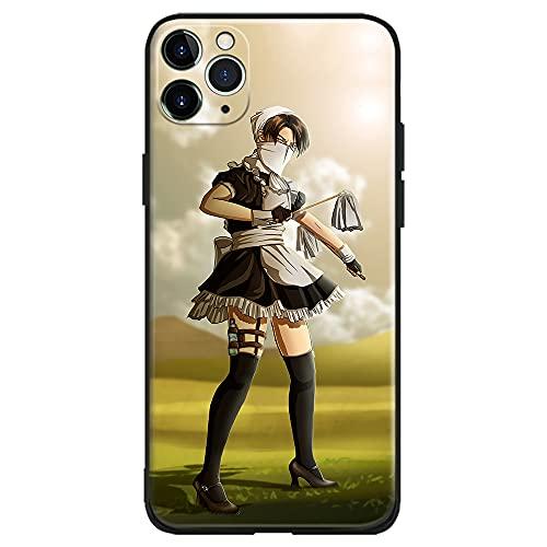Levi Ackerman Maid Attack on Titan Funny Anime Japonés Manga Compatible con iPhone Phone Carcasa Carcasa Carcasa (Silicona Mate), iPhone XR)