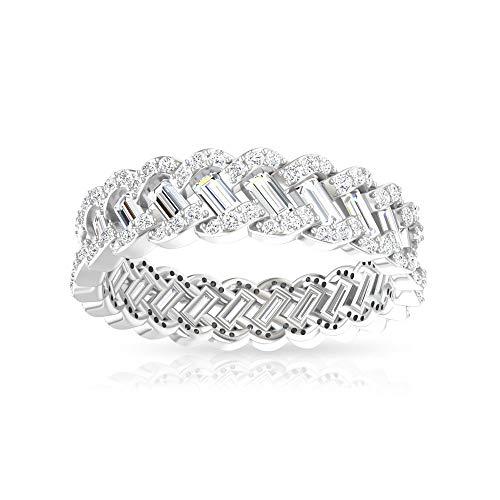 Anillo de boda de 1,71 ct de ancho certificado IGI con eslabones de diamante, redondo de baguette IJ-SI de 3 filas de anillos de aniversario de novia, 14K Oro blanco, Size:UK V1/2
