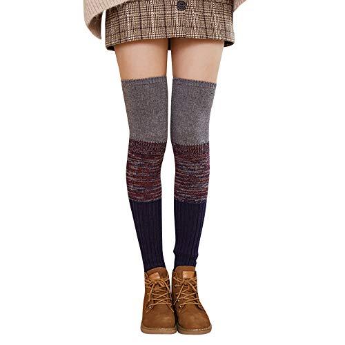 UJUNAOR Damen Patchwork Strümpfe Socken Winter Dicke Über die Kniestrümpfe Beinärmel Leggings(B,One Size)