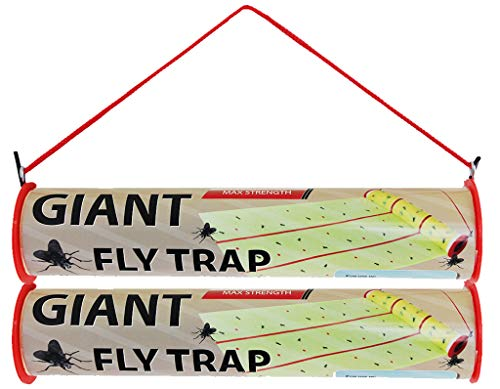 W4W Giant Sticky Fly Trap Roll - MAX Strength - Outdoor/Indoor - Non Toxic - for Flies and Other Bugs (2 Pack- Contains 2 Giant Fly Rolls)