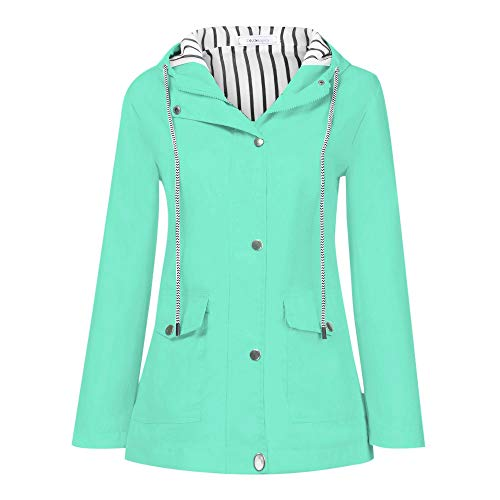 LISTHA Cargo Jackets Rincoat Women Rain Outdoor Waterproof Windproof Hooded Coat Mint Green