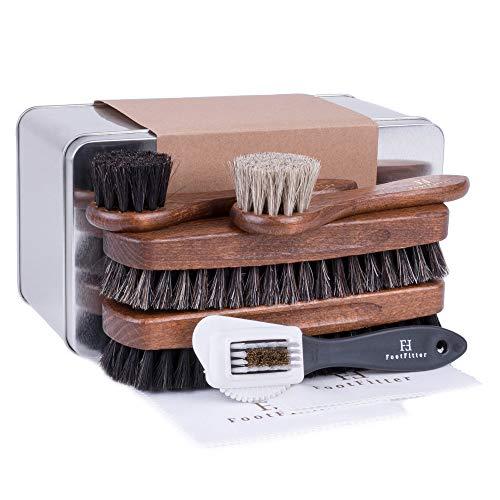 FootFitter Classic Shoe Shine 7-Piece Brush Set - 2 Daubers, 2 Horsehair Brushes, 2 Microfiber Shine Cloths, 1 Suede/Nubuck Sneaker Cleaner!