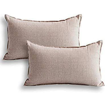 Jeanerlor 12 x20  Cotton Linen Square Decorative Lumber Throw Pillow Case Cushion Cover set Twin Needles Stitch on Edge Father's Day,(30 x 50cm), 2 Pcs, Light Linen