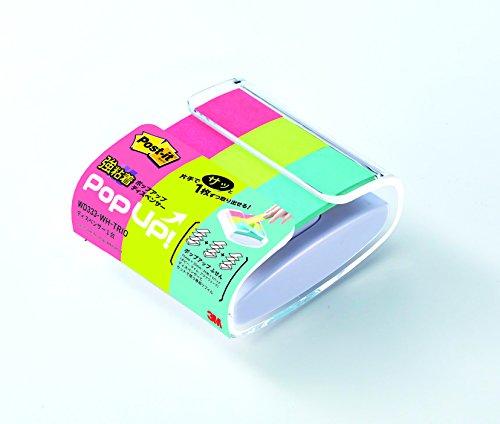 ポストイット 強粘着 付箋 ポップアップ ふせん マルチカラー 75×25mm 30枚×3パッド WD333-WH-TRIO-AM