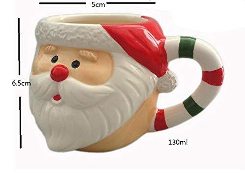 lookmoon Tasse Mugs Tassen Startseite Keramik Cartoon Weihnachten Kind Geschenk kleine Tasse Santa Schneemann Mousse Cup Elch Weihnachten Stiefel Drink Cups-Striped_Santa