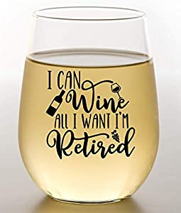 WINE ALL I WANT RETIREMENT GIFT - Looking for a funny retirement gift for a friend, family member, or coworker in 2021? This humorous wine glass is sure to crack a smile for the new retiree! RETIREMENT GIFTS FOR WOMEN - Large 15oz wine glass with fun...