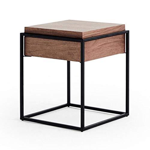 LICHUAN Table basse nordique simple carrée en fer forgé avec tiroir, table de chevet pour chambre à coucher, salon, table d'appoint (couleur : noyer)