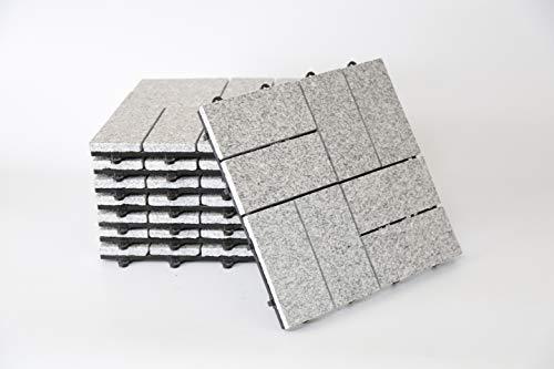BodenMax LLGRAMOSAIC2-KC graniet lamellen patroon mozaïek klik vloertegels set 30 x 30 cm terrastegels terrasplaat steen tegel kliktegels balkontegels binnenbereik grijs (8 stuks)