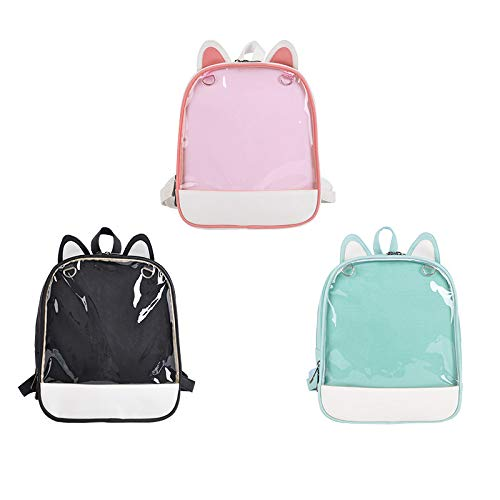 Ita-Bag Backpack with Cat Ears and Transparent Front Pocket For Girls Women,Black