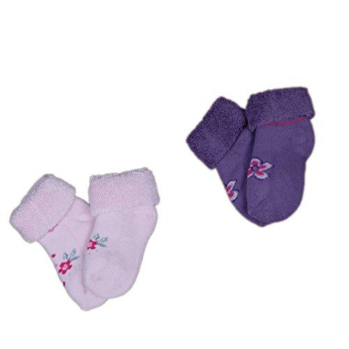 Babysocken Söckchen Erstlingssocken Frottee 2-er Set rosa lila mit Motiv Gr. 18-20 Art. 113003 KNEES und TOES