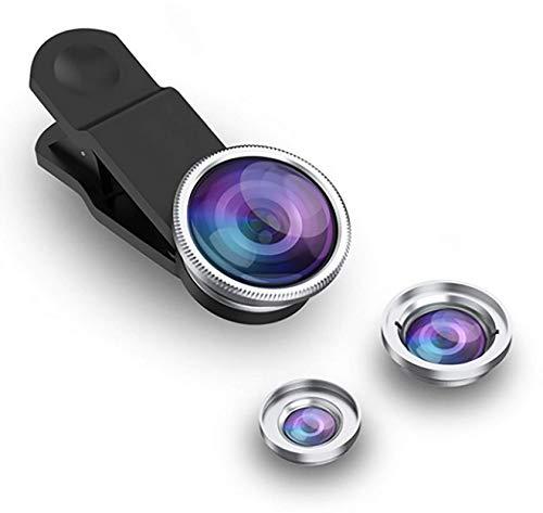 3-in-1 Handy Objektiv Set, Clip-On Kamera-Adapter für Smartphones - Fischaugenobjektiv (180° Fisheye Linse), Weitwinkel (0,65x Wide), Makroobjektiv (10x) - für alle Handys geeignet (Silber)