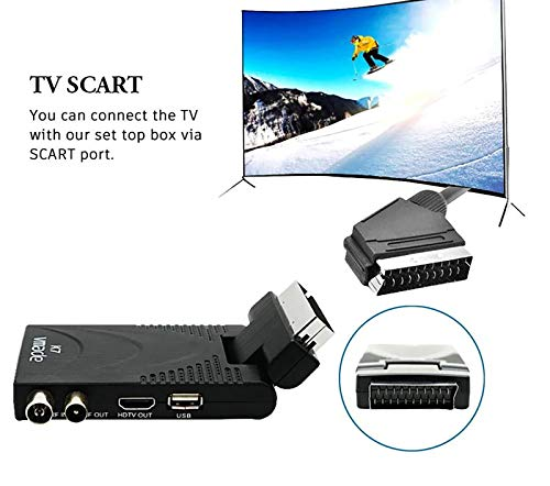Decoder Digitale Terrestre HD Mini DVB-T2 Hevc H.265 10-bit 1080P USB HDMI Presa Scart 180° per Televisione Ricevitore TV Adatto a Nuovo Segnale in Vigore