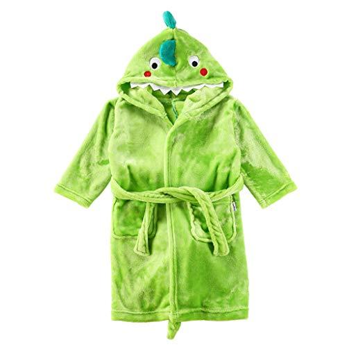 Kinder Bademantel Morgenmantel mit Kapuze Flanell Nachthemd Dinosaurier Handtuch