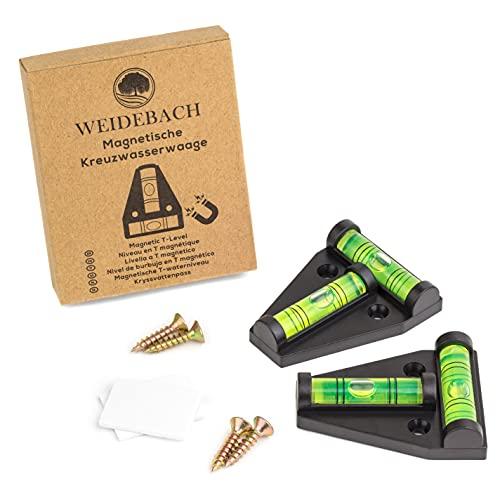 WEIDEBACH® 2 Stück Magnetische T-Wasserwaage in Schwarz, Kreuzwasserwaage, kleine Wasserwaage, zwei Wege Wasserwaage, Pyramiden Wasser-Waage klein, für Wohnmobil
