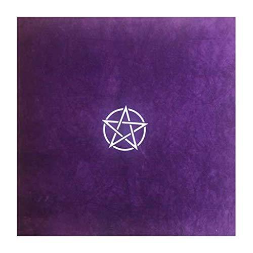 geneic 60 x 60 cm Pentagramm-Tischdecke, Samt, Altartuch, Hexe, Wahrsagung, Astrologie, Brettspiel, Hexerei, Kartenblock