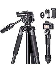 Treppiedi fotocamera 170CM cavalletto per fotocamera in alluminio con supporto per cellulare, telecomando Bluetooth e custodia per il trasporto