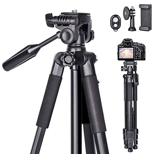 Kamera Stativ 170cm Erweiterbarer Camera stativ,universal stativ für die Kamera aus Aluminium Tragfähigkeit 10KG Dreibeinstativ mit Bluetooth Fernbedienung und Tragetasche