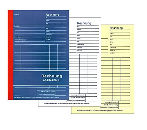 10x Rechnungsblock DIN A5 2x40 Blatt Rechnung Vordruck Quittungsblock