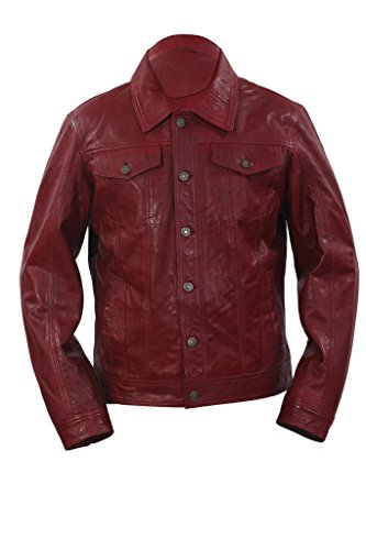 Infinity Hombres Gorro Slim Fit Borgoña de Cuero Ocasional de la Camisa de la Chaqueta de los Pantalones Vaqueros
