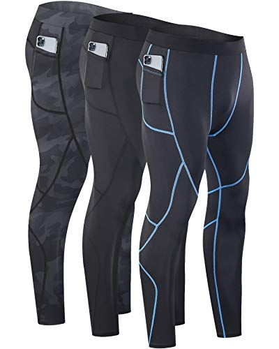 Milin Naco Men's Compression Pants, Cool Dry Baselayer Running Sports Tights with Pocket, Pack of 3-Camo Black/Black/Athletic Black-L