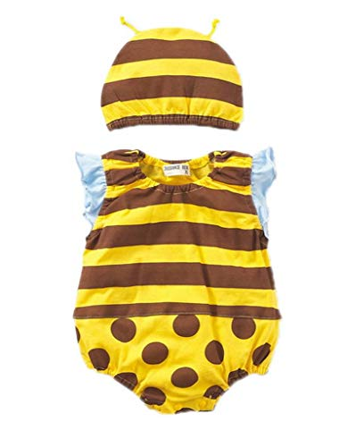 YiyiLai YiyiLai Cartoon Design Neugeborene Junge Mädchen Babykleidung Playsuit Kleidung Set Strampler Bodysuit Outfit 90 Gelb