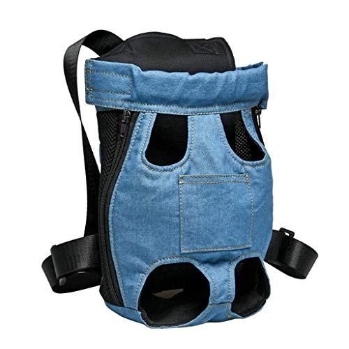 Zgywmz Pet Supplies Haustier Rucksack, bewegliche Breathable Haustier-Tasche, Brusttasche Denim-Tasche, justierbare Welpen-Katze-Beutel Vor Beinen, Reise Camping, Blau (Farbe : Blue, Size : XL)