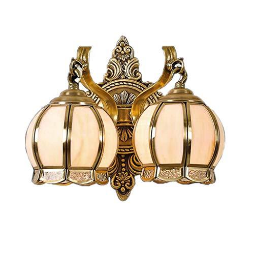 LINGZHIGAN Estilo Europeo Simple Lámpara de Pared cálida Linterna de Cobre en Forma de Vidrio American Retro E27 Sala de Estar Estudio de Restaurante Baño Corredor Dormitorio Sola Cabeza Doble Cabeza