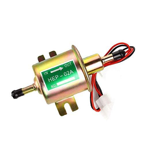 Fuel Pump Electronic Fuel Transfer Pump 12V Inline Universal Pump Metal HEP-02A for Carburetor Engine