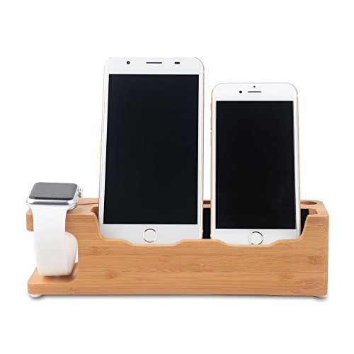 Soporte Compatible Con Apple Watch e iPhone Bamboo Stand Dock station workstation elegante soporte de bambu Copmpatible Con Apple Watch...